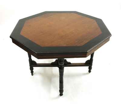 Lot 8 - An Aesthetic oak and ebonised octagonal hall table