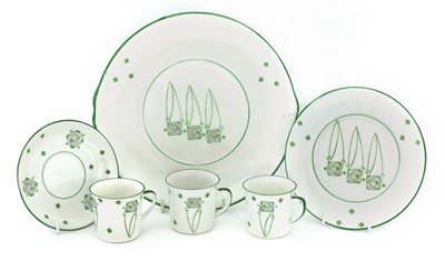 Lot 48-A set of six Foley Peacockware 'Glasgow Rose' trios