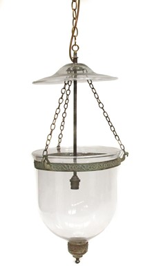 Lot 84 - A near pair of George III-style hanging candle lanterns