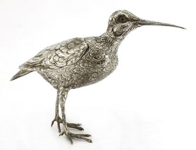 Lot 6 - A Continental silver model of a jack snipe