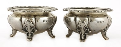 Lot 29 - A pair of Edward VII silver open salts of heavy gauge