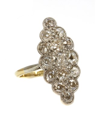 Lot 149 - A diamond set marquise cluster ring