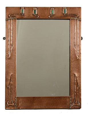 Lot 155 - An Arts and Crafts Glasgow School copper wall mirror