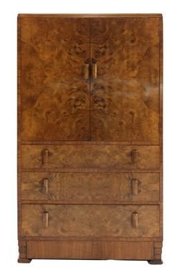 Lot 47 - An Art Deco burr walnut dressing cabinet
