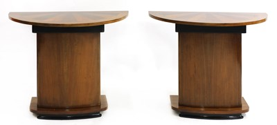 Lot 48 - A pair of Art Deco walnut inlaid console tables