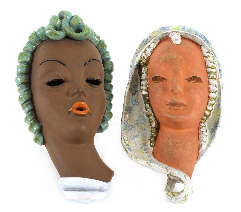Lot 364 - A Keramos glazed pottery wall mask