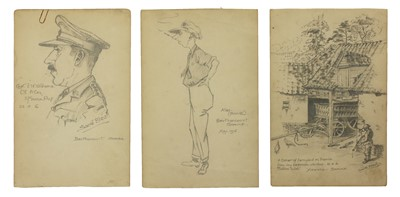 Lot 574 - A small collection of First World War pencil drawings