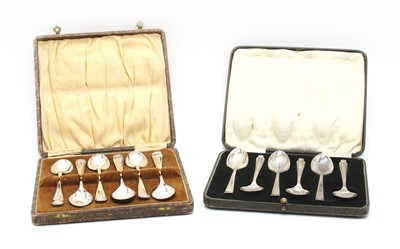 Lot 16-A cased set of six silver teaspoons by Asprey and Co
