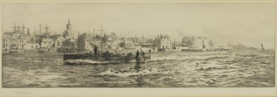 Lot 520 - William Lionel Wyllie RA (1851-1931), A tug boat on the Thames