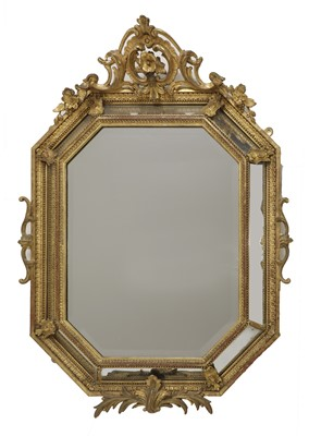 Lot 54 - A carved giltwood framed lozenge-shaped wall mirror