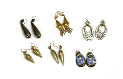 Lot 18-A pair of Victorian Etruscan Revival silver gilt earrings