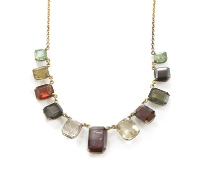 Lot 97 - An assorted gemstone gold necklace, c.1915