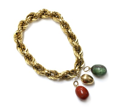 Lot 169 - A Continental hollow rope chain bracelet, c.1950