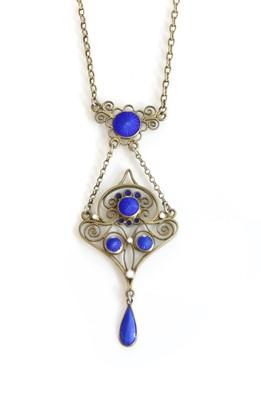 Lot 119 - A Norwegian silver gilt enamel pendant by Marius Hammer, c.1910
