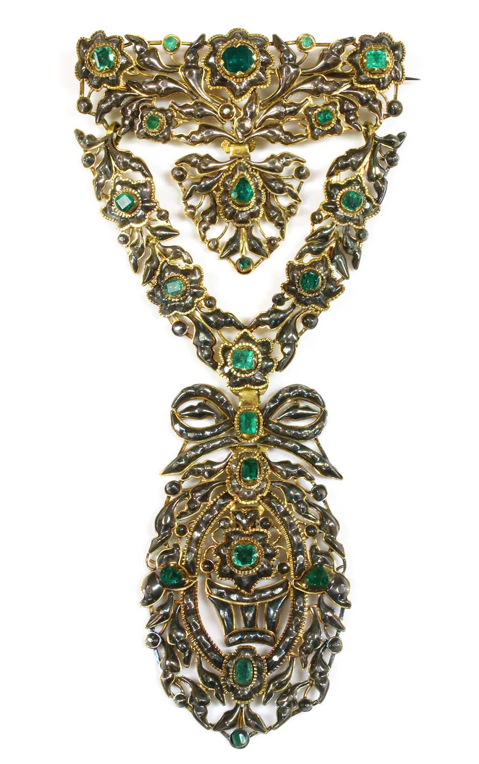 Lot 4-A Portuguese or Iberian emerald and diamond stomacher brooch, c.1750-1780