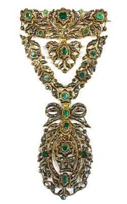 Lot 4 - A Portuguese or Iberian emerald and diamond stomacher brooch, c.1750-1780