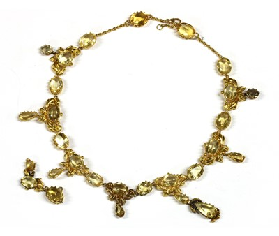 Lot 6-An early Victorian gold and citrine necklace, c.1840
