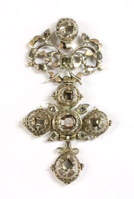Lot 1-A Portuguese silver and gold diamond set cross pendant, c.1790