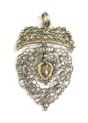 Lot 3-A Flemish silver diamond set Vlaams Hart pendant, c.1800