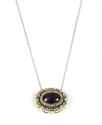 Lot 9-A Victorian amethyst and diamond oval cluster head