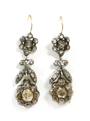 Lot 13-A pair of late Victorian diamond set daisy cluster drop earrings