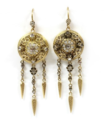 Lot 14-A pair of Continental gold diamond drop earrings