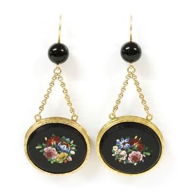 Lot 15-A pair of Victorian micromosaic drop earrings