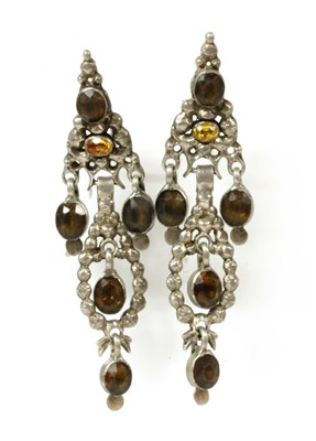 Lot 2-A pair of Catalan silver foil-backed paste earrings, c.1800