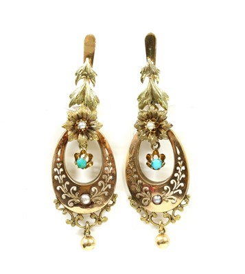 Lot 17-A pair of gold turquoise and split pearl drop earrings