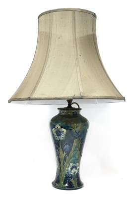 Lot 218 - A Moorcroft Florian baluster table lamp