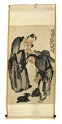 Lot 89 - A Chinese gouache hanging scroll