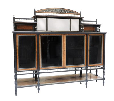 Lot 592 - An Aesthetic amboyna, ebony and ivory side cabinet