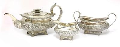 Lot 37 - A George IV silver three-piece tea set