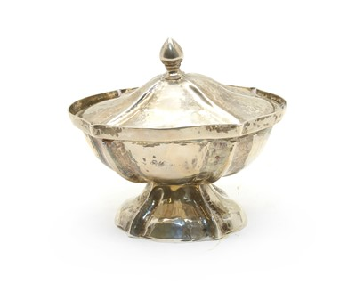 Lot 10-An early 20th century Fierman Hanan pedestal dish and cover of scalloped ovoid form