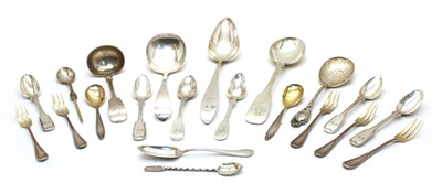Lot 20-A quantity of low grade silver and white metal flatware