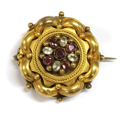 Lot 6-A Victorian gold gem set brooch