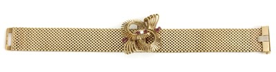 Lot 164 - A 9ct gold ruby and diamond bracelet, by Sannit and Stein, c.1960