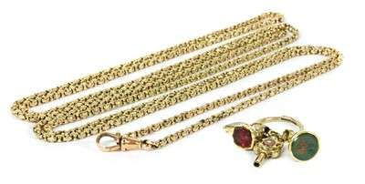 Lot 15-A gold belcher link long chain