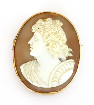 Lot 24-A gold mounted oval shell cameo
