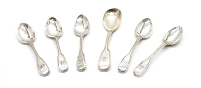 Lot 25-A set of five George III fiddle pattern and thread teaspoons