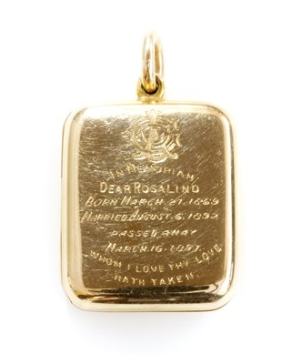 Lot 60 - A late Victorian gold rectangular cushion-shaped hinged locket
