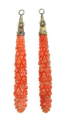 Lot 7 - A pair of Regency carved coral pendant earring drops
