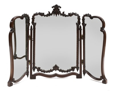 Lot 95 - A mahogany triptych dressing table mirror