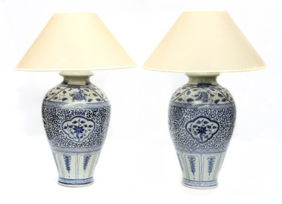 Lot 96 - A pair of large blue and white Chinese porcelain table lamps