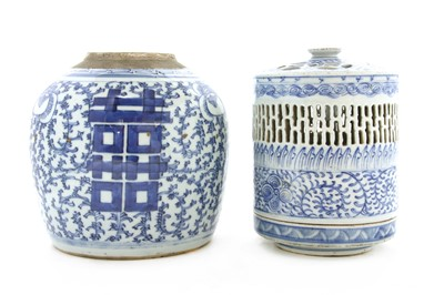 Lot 88A - A Chinese blue and white lamp and cover