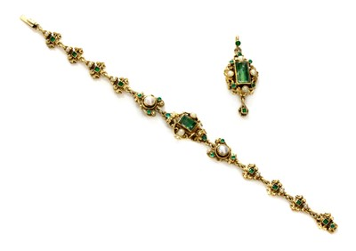 Lot 118 - An Austro-Hungarian, silver gilt, foiled gemstone and blister pearl bracelet and pendant, c.1900