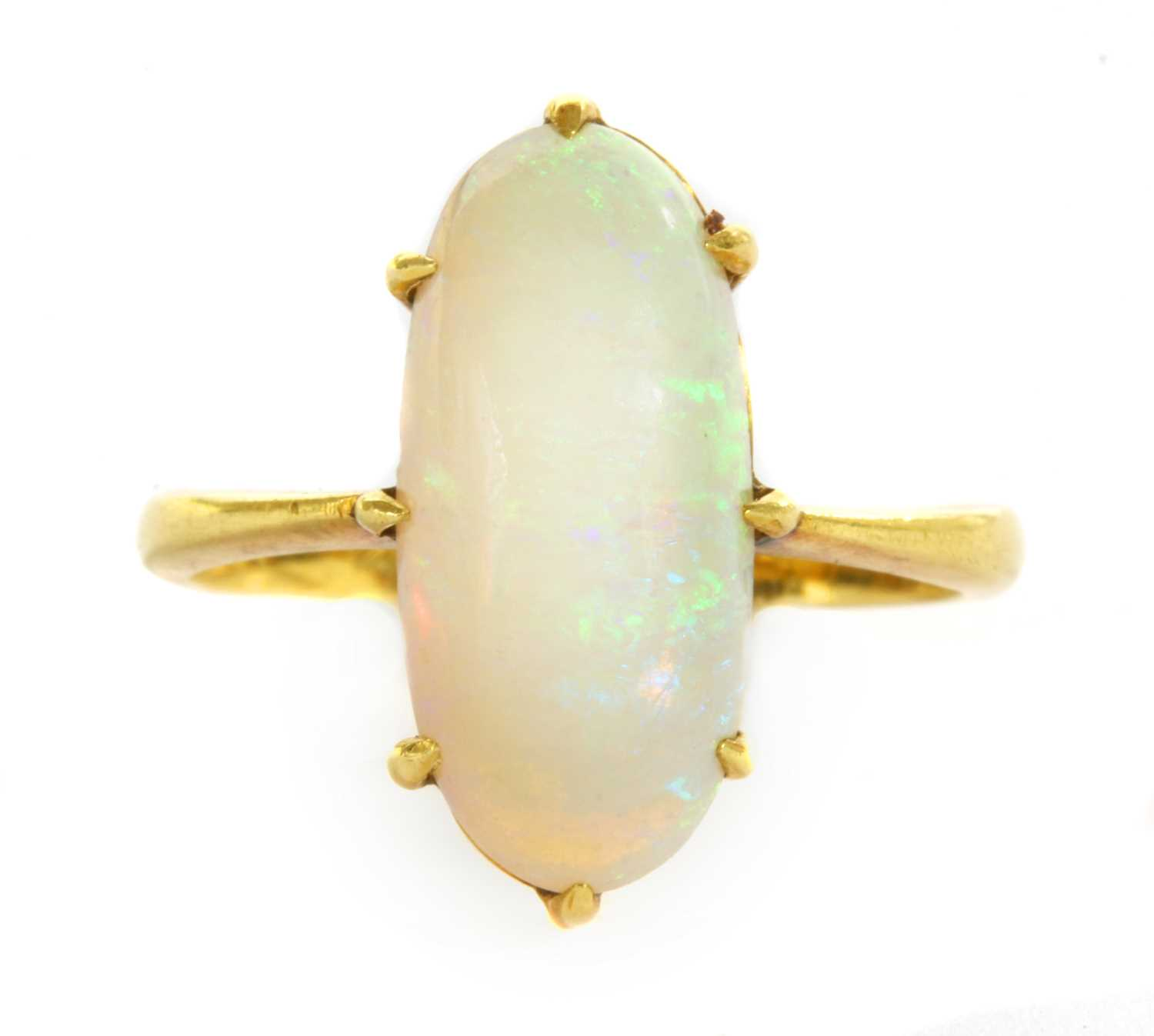 Lot 19 - An Edwardian gold single stone opal ring