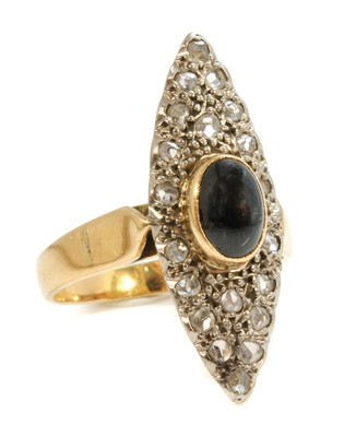 Lot 150 - A Continental sapphire and diamond marquise-shaped cluster ring
