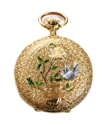 Lot 71 - A Continental gold and enamel hunter-style top wind fob watch, c.1910