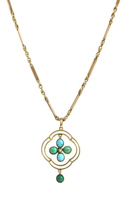 Lot 17 - A gold turquoise and split pearl pendant